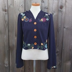 Anthropologie Saturday Sunday Embroidered Hoodie S